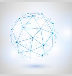 wireframe 3d mesh polygonal sphere vector image vector image