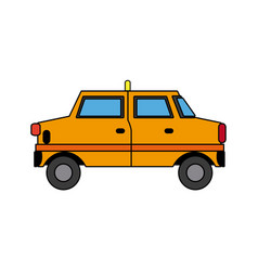 Yellow taxi car transport public service vector
