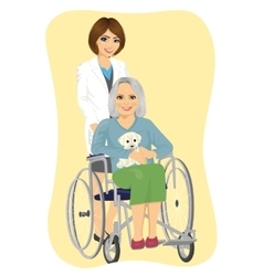 Young nurse pushing senior woman in wheelchair vector