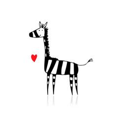 zebra sketch for your design vector image vector image