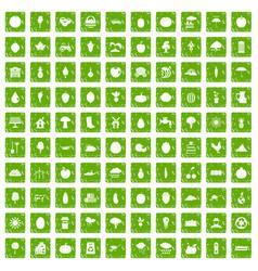 100 productiveness icons set grunge green vector