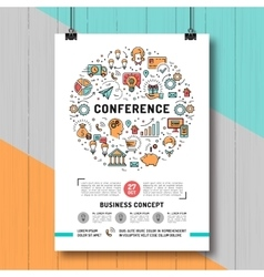 Business conference poster templates a4 size line vector