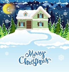 Snowy house vector image