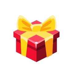 Red gift box with yellow bow with present vector