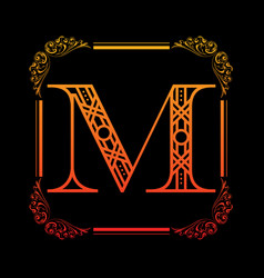 Letter m with ornament vector
