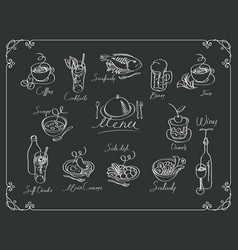 menu with sketches different dishes vector image