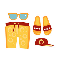Slippers shorts sun glasses and cap in red and vector