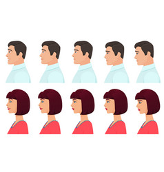Male and female profile avatars expressions set vector