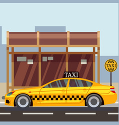 Taxi flat poster - taxi car on taxi stop vector
