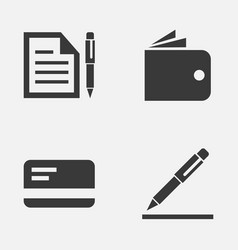 Job icons set collection of contract billfold vector