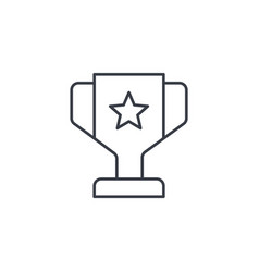 1st place golden trophy cup thin line icon linear vector