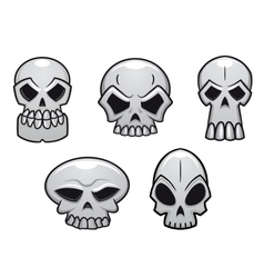 Different human skulls for halloween vector image