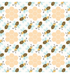 Seamless pattern with bees vector