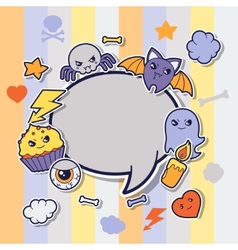 Halloween kawaii greeting card with cute sticker vector image