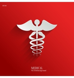 Caduceus medical symbol- white app icon vector