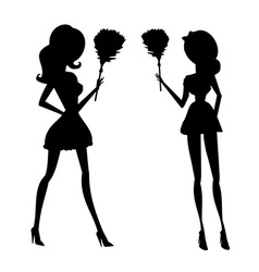 Clip art of a sexy house maid in silhouette vector