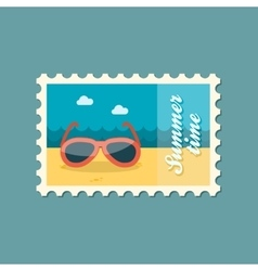 Sunglasses flat stamp summertime vector