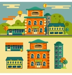 Buildings set small town street landscape vector