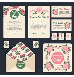 Wedding invitation stationary set floral decor vector