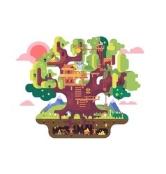 Fairy tree house vector