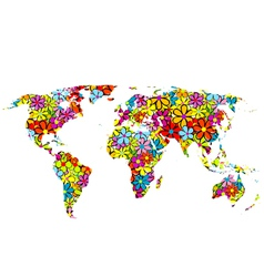 Floral world map vector image