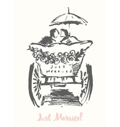 Drawn bride groom carriage sketch vector