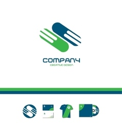 Abstract green blue company sign logo icon vector