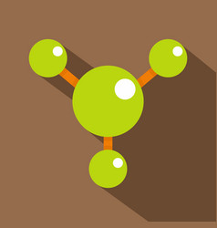 abstract green molecules icon flat style vector image vector image