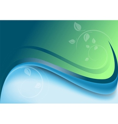 Abstract waves green blue background vector image