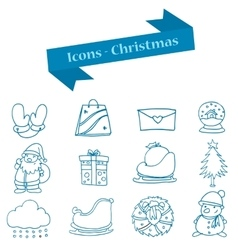 Art of merry christmas icons set vector