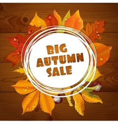 Background of big autumn sale with red leaves vector image vector image