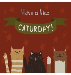 Cartoon flat cats saturday postcard vector