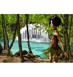 cartoon woman in clothing of leaves in the jungle vector image