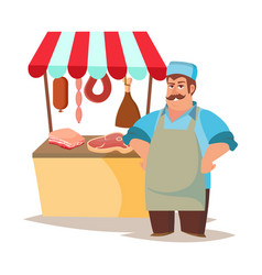 Classic butcher professional butcher man vector