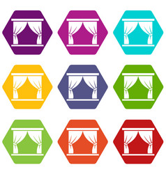 Curtain on stage icon set color hexahedron vector