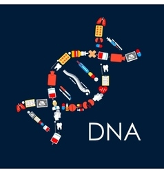 DNA symbol poster of medical items vector image vector image