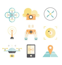 Drone flat icons vector