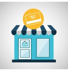 Ecommerce store credit card bank icon vector