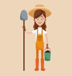 Farmer girl straw hat shovel and bucket earth vector