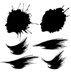 Female head profile ink blot set vector