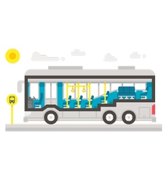 Flat design bus interior infographic vector