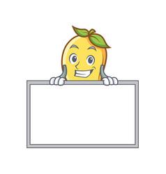 grinning mango character cartoon mascot with board vector image vector image