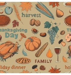 Hand drawn seamless pattern thanksgiving vector image