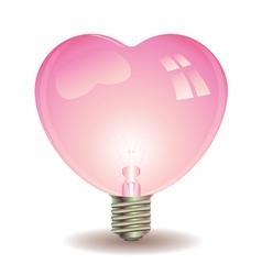Heart Shaped Lightbulb vector image