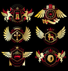 heraldic signs decorated with vintage elements vector image vector image