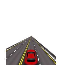 High-speed highway red cars on the road in vector
