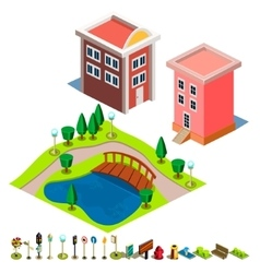 House and Park building icon vector image vector image