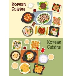 Korean cuisine traditional lunch icon set vector
