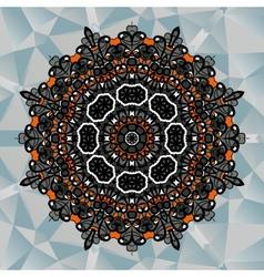 Mandala design on blue triangles background vector image