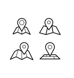 Maps and pins icons vector